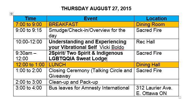 Updated Thursday Agenda