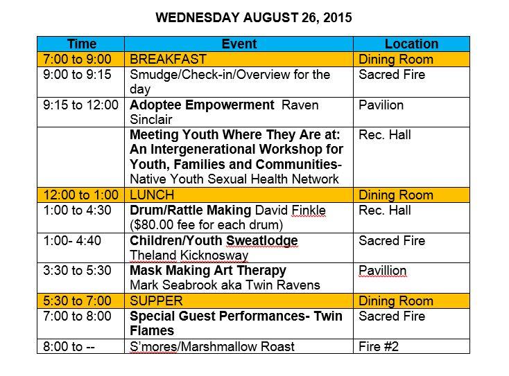 Updated Wednesday agenda
